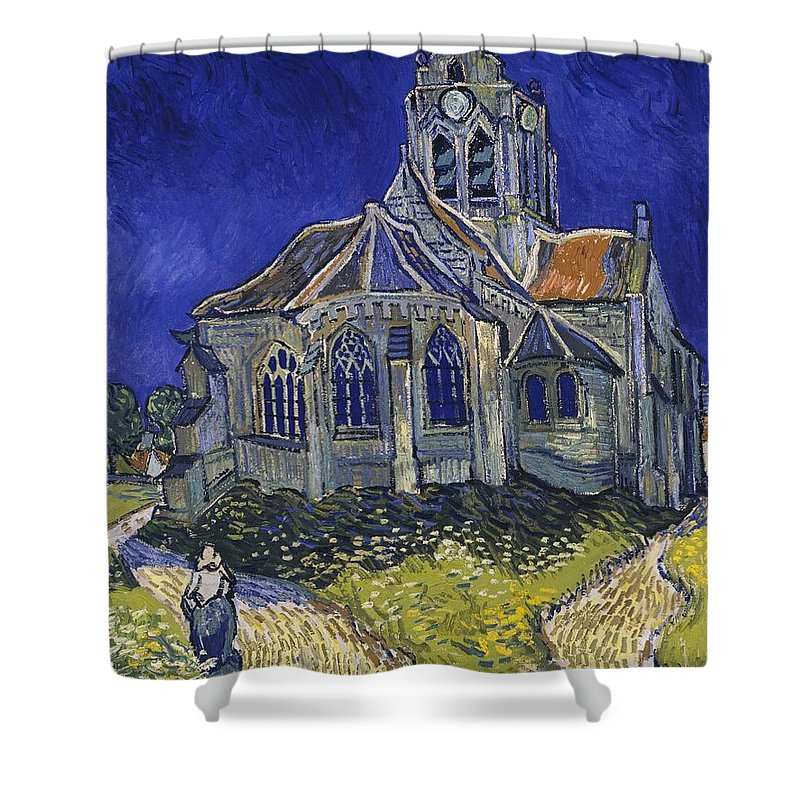 Vincent Van Gogh Shower Curtain featuring the painting The Church At Auvers by Van Gogh