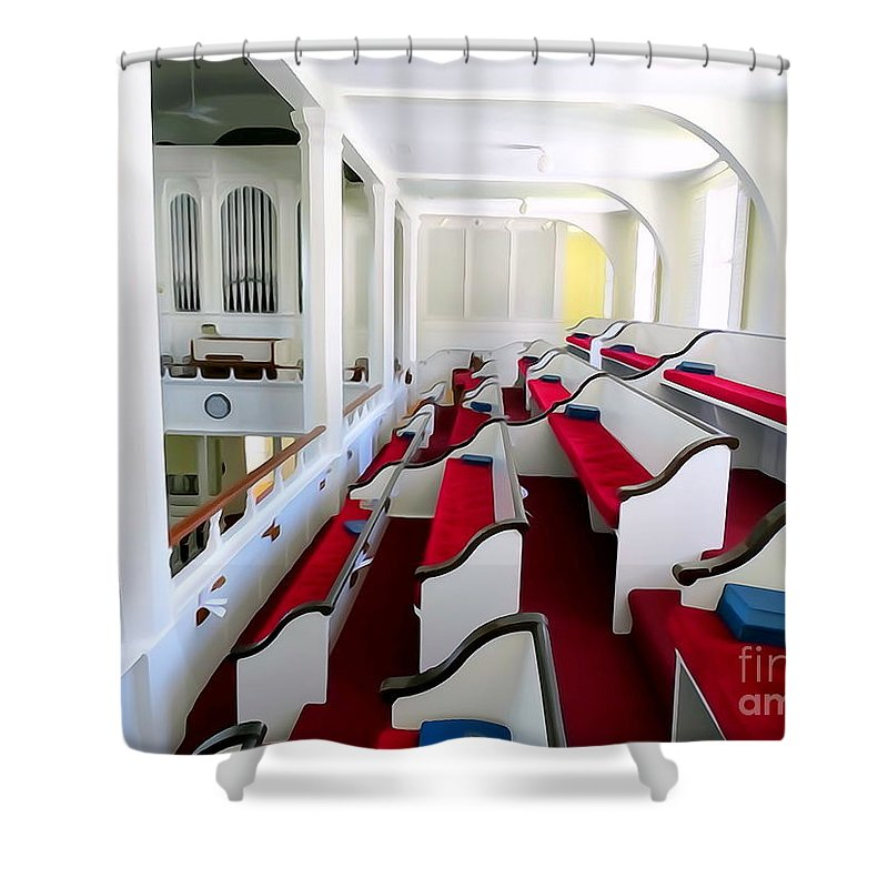 Digital Shower Curtain featuring the photograph The Church Balcony by Ed Weidman