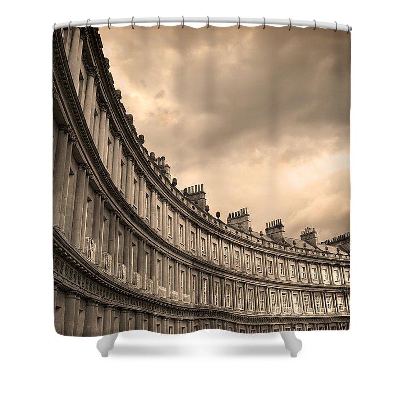 Bath Shower Curtain featuring the photograph The Circus Bath England by Mal Bray