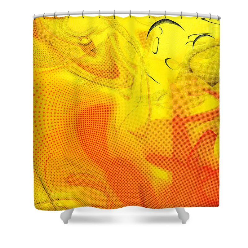 Digital Abstract Art Shower Curtain featuring the digital art The Circus Came to Town by Linda Sannuti