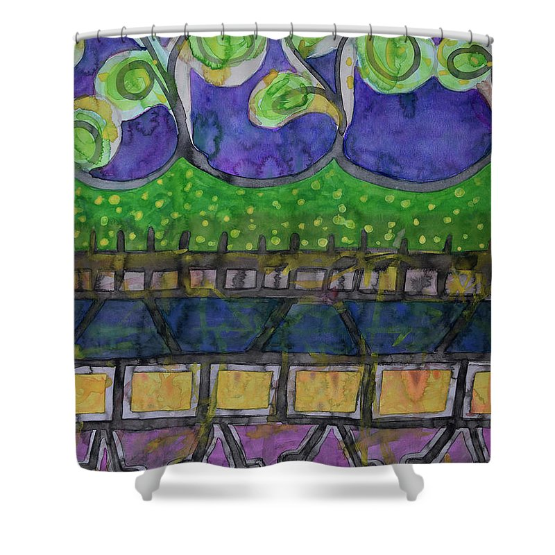People Shower Curtain featuring the painting The City Park by Heidi Capitaine