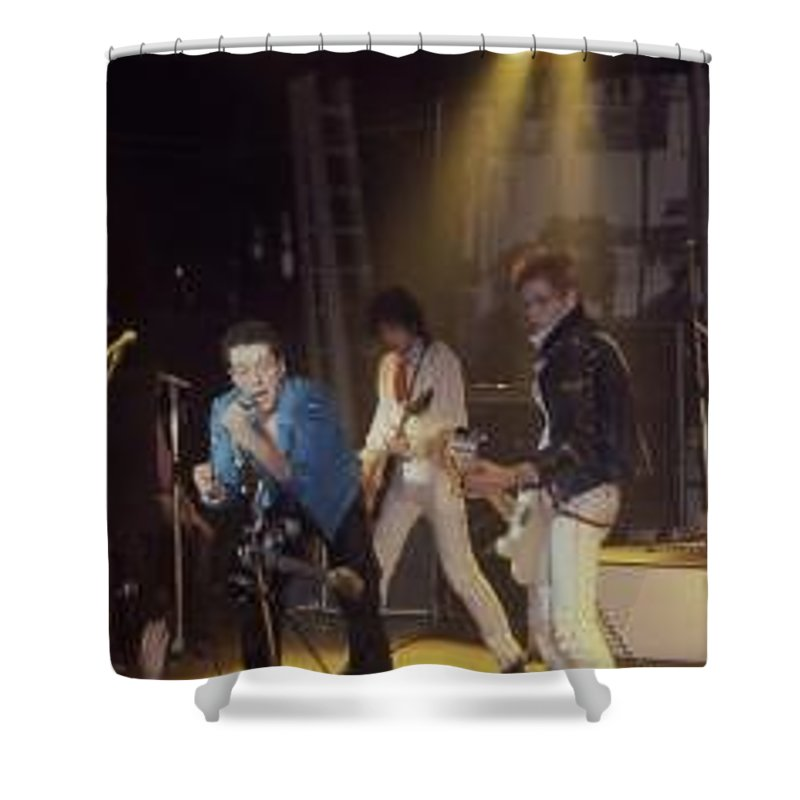 The Clash-london 1978 Photo By Dawn Wirth-copyrighted Shower Curtain featuring the photograph The Clash-london - July 1978 by Dawn Wirth