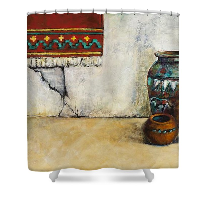 Southwest Art Shower Curtain featuring the painting The Clay Pots by Frances Marino