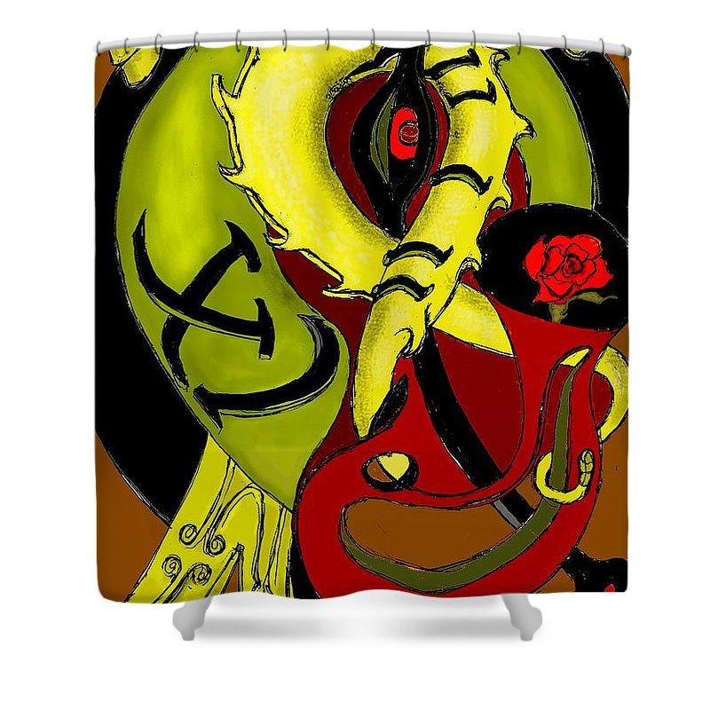 Clock Shower Curtain featuring the digital art The Clock by Helmut Rottler