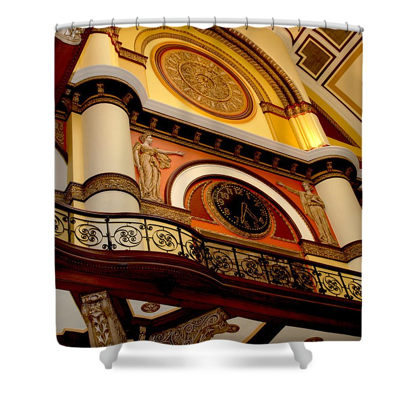 Union Station In Nashville Shower Curtain featuring the photograph The Clock In The Union Station Nashville by Susanne Van Hulst