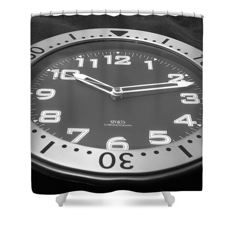 Black And White Shower Curtain featuring the photograph The Clock by Rob Hans