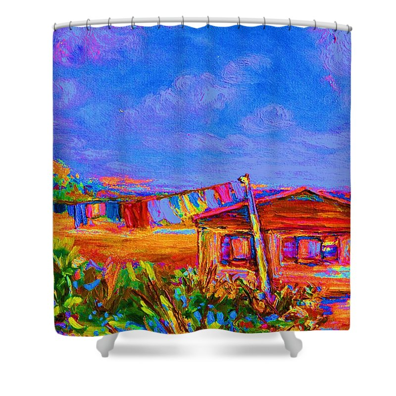 Clothesline Scenes Shower Curtain featuring the painting The Clothesline by Carole Spandau