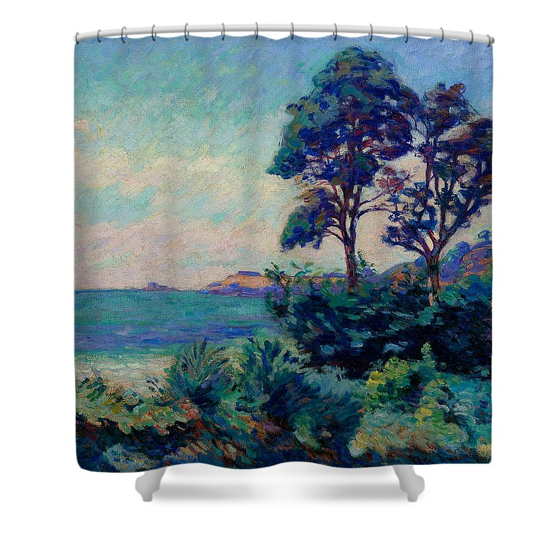 Shower Curtain featuring the painting The Coastline At Saint-palais by Jean-Baptiste-Armand Guillaumin