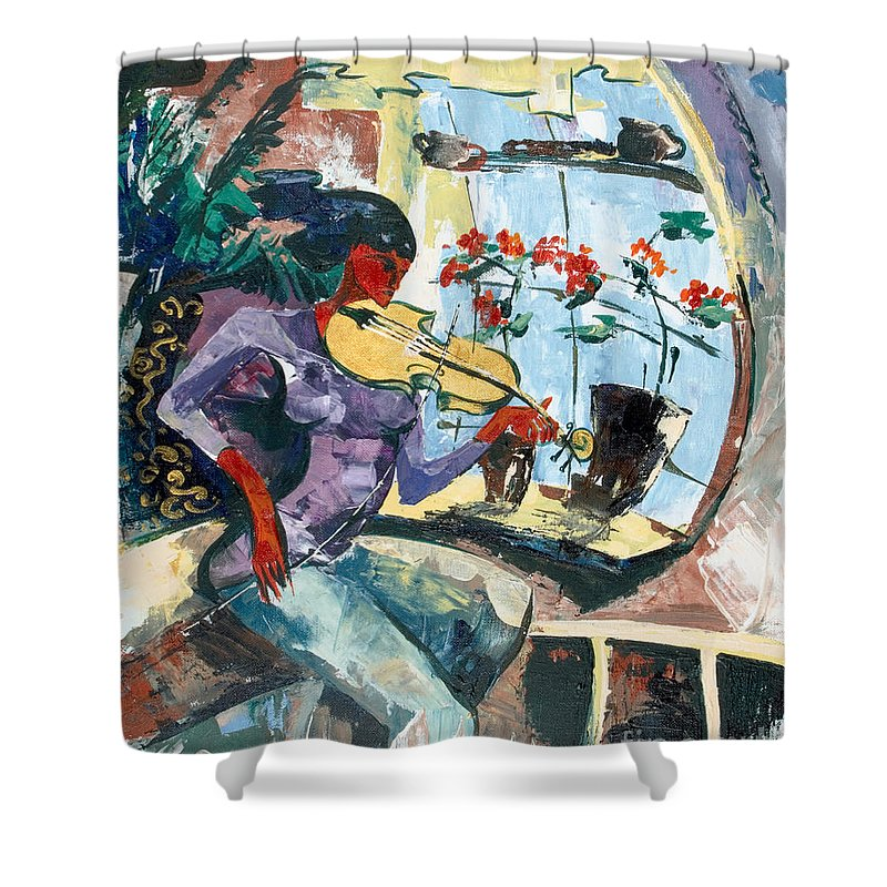 Music Shower Curtain featuring the painting The Color Of Music by Elisabeta Hermann