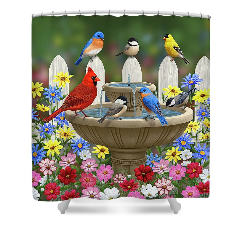 Birds Shower Curtain featuring the painting The Colors Of Spring - Bird Fountain In Flower Garden by Crista Forest