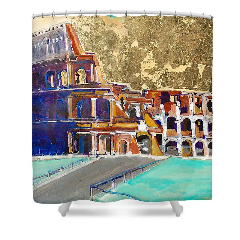 Colosseum Shower Curtain featuring the painting The Colosseum by Kurt Hausmann