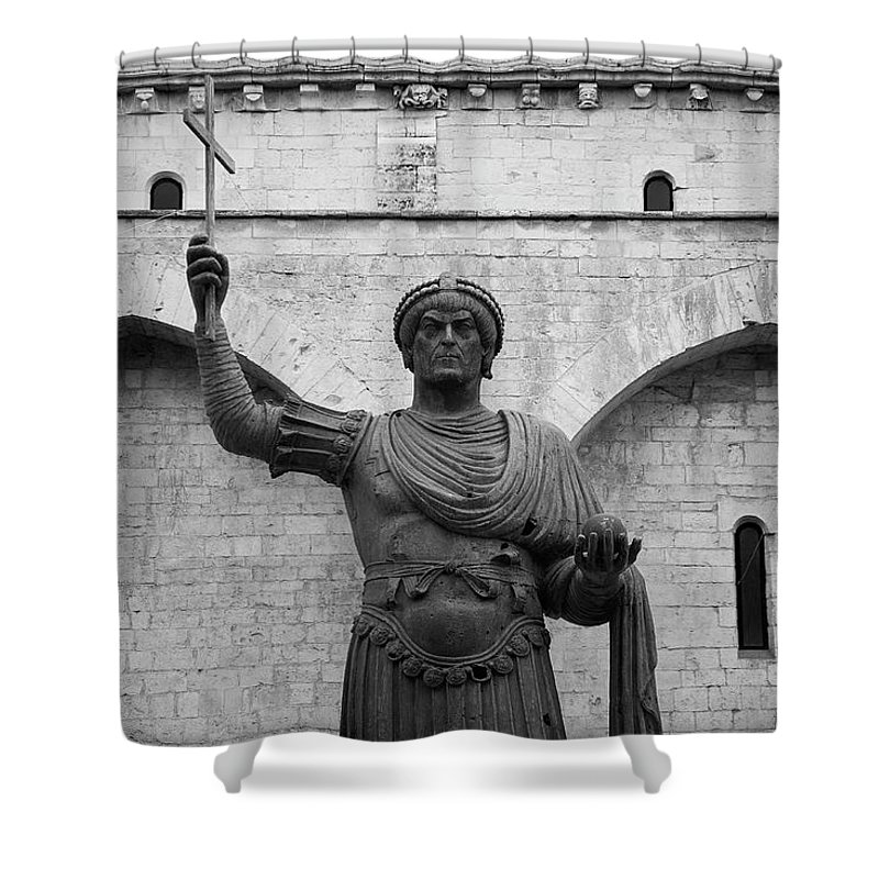 Ancient Shower Curtain featuring the photograph The Colossus Of Barletta by Davide Carini
