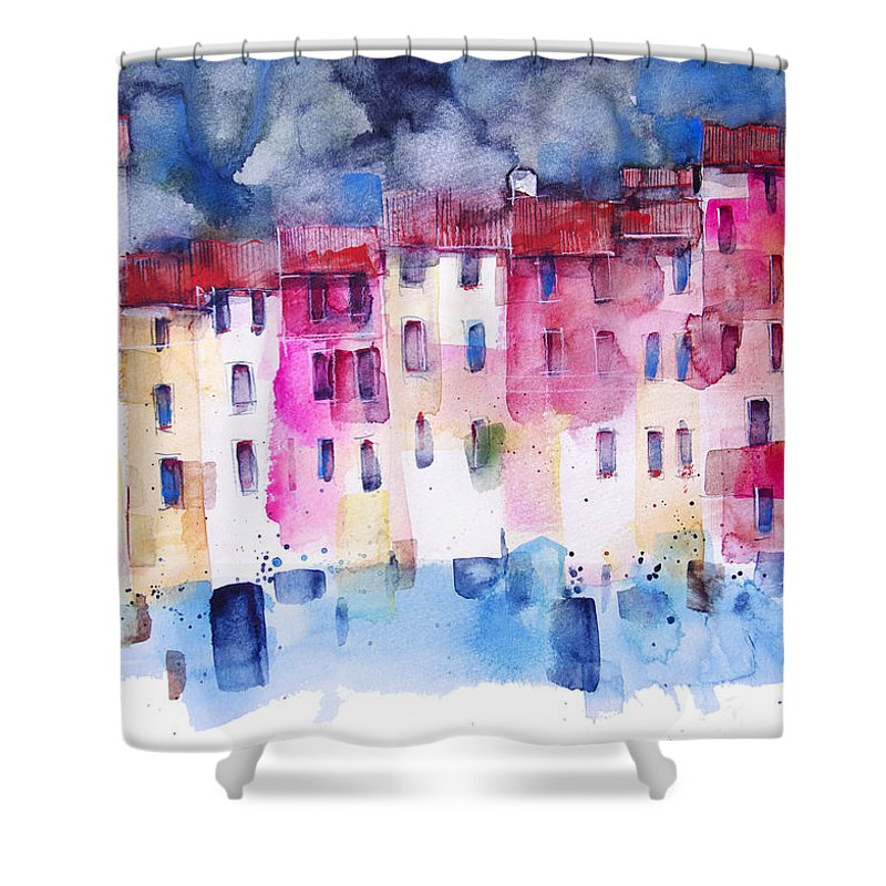 Architecture Shower Curtain featuring the painting The coloured houses of Portofino by Alessandro Andreuccetti