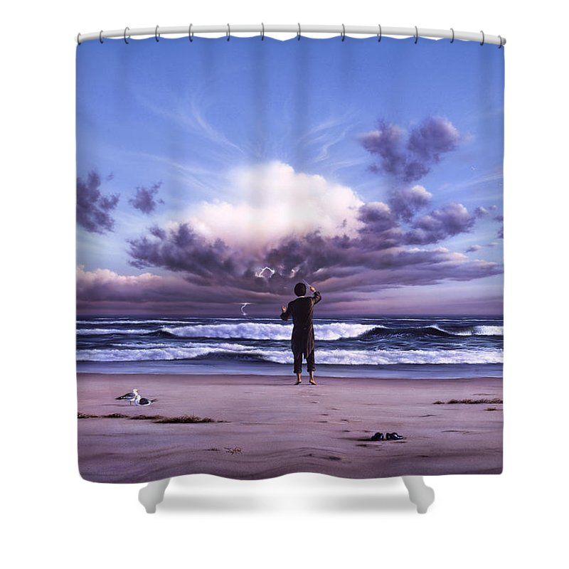 Music Shower Curtain featuring the painting The Conductor by Jerry LoFaro