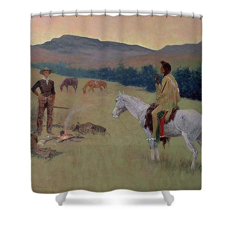 The Conversation Shower Curtain featuring the painting The Conversation by Frederic Remington