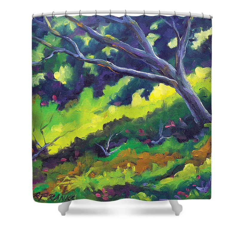 Art Shower Curtain featuring the painting The Cool Shade by Richard T Pranke