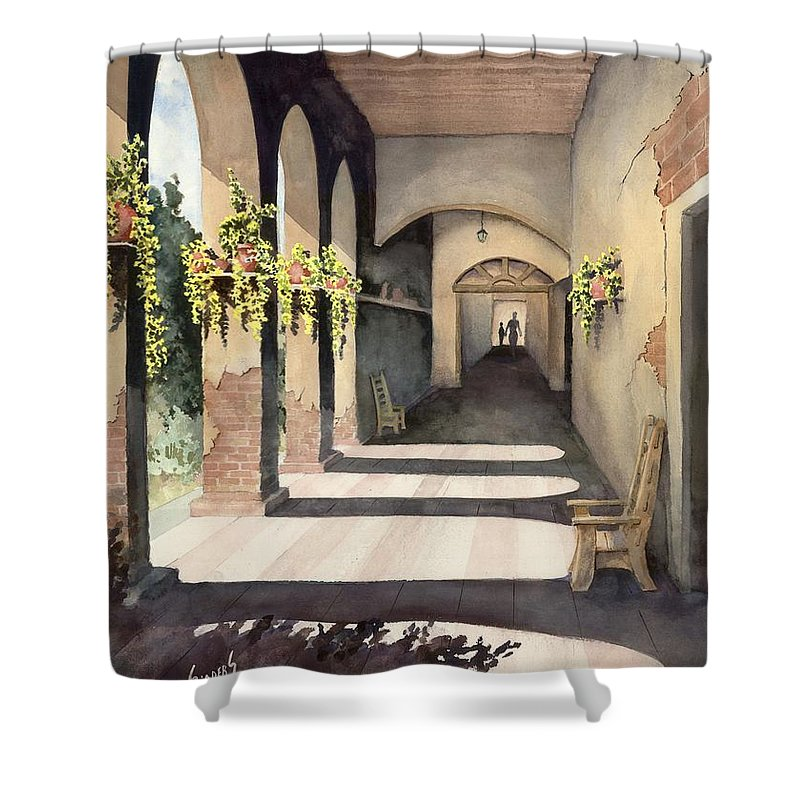 Plants Shower Curtain featuring the painting The Corridor 2 by Sam Sidders