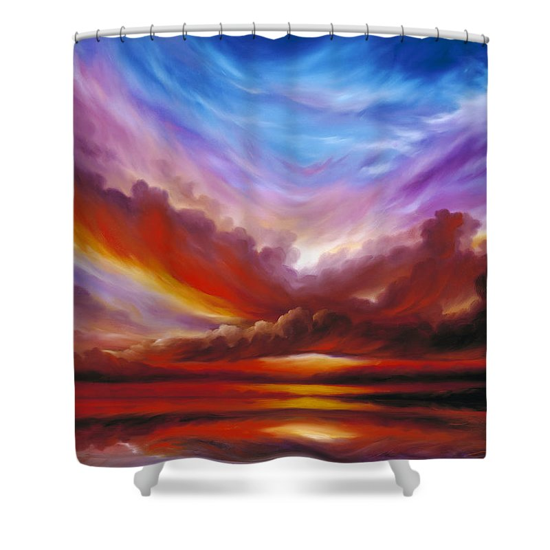 Skyscape Shower Curtain featuring the painting The Cosmic Storm II by James Christopher Hill