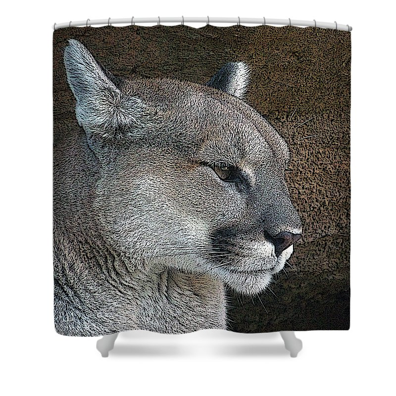 Mountain Lion Shower Curtain featuring the photograph The Cougar by Ernie Echols
