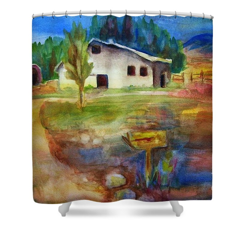 Country Barn Shower Curtain featuring the painting The Country Barn by Frances Marino