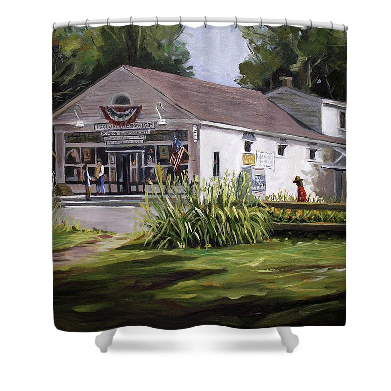Buildings Shower Curtain featuring the painting The Country Store by Nancy Griswold