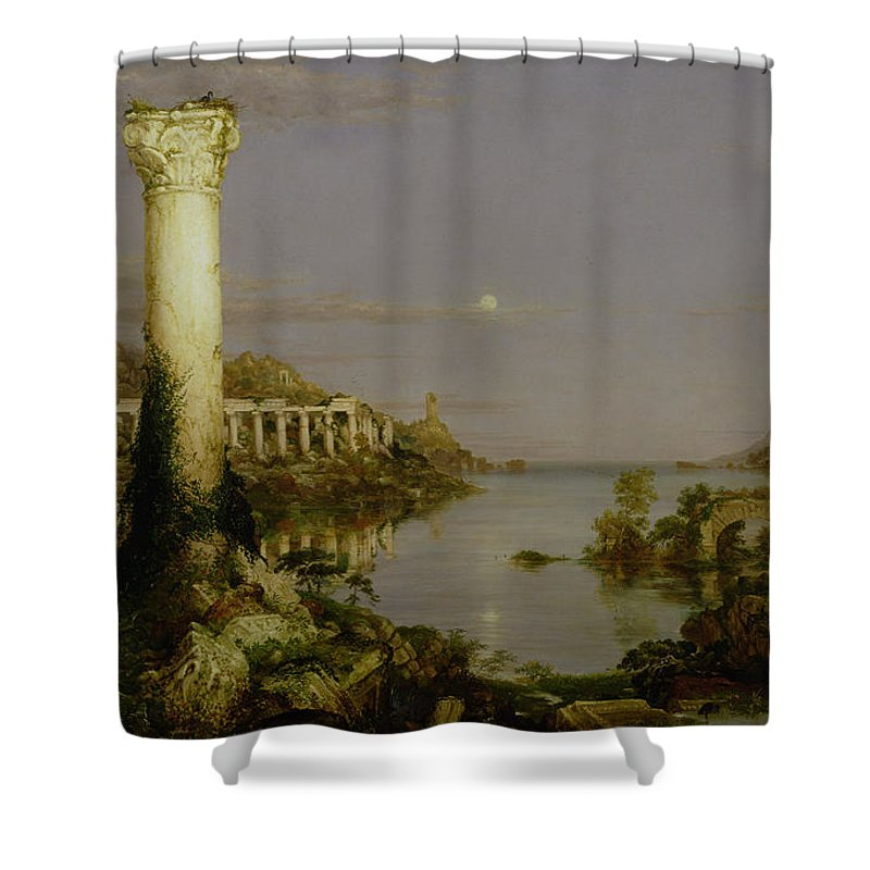Moonlit Landscape; Classical; Architecture; Ruin; Ruins; Desolate; Bridge; Column; Hudson River School; Moon Shower Curtain featuring the painting The Course Of Empire - Desolation by Thomas Cole