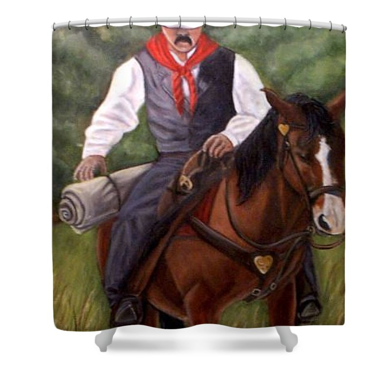Portrait Shower Curtain featuring the painting The Cowboy by Toni Berry