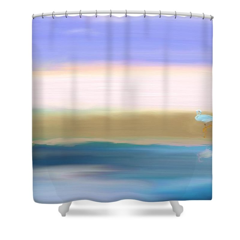 Crane Shower Curtain featuring the painting The Crane by Gina Lee Manley