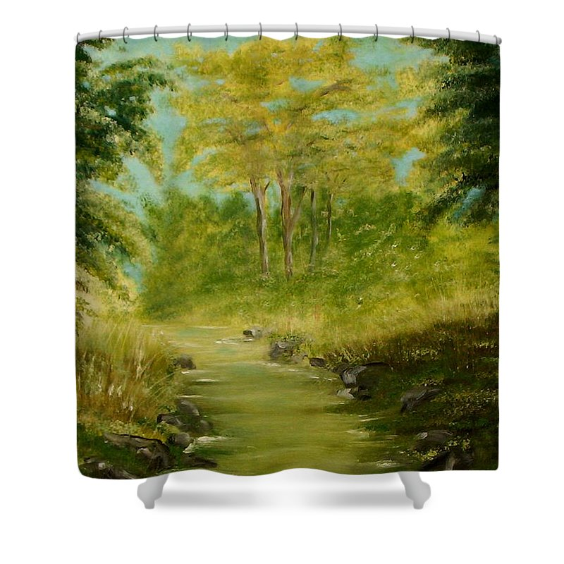 Water River Creek Nature Trees Landscape Shower Curtain featuring the painting The Creek by Veronica Jackson