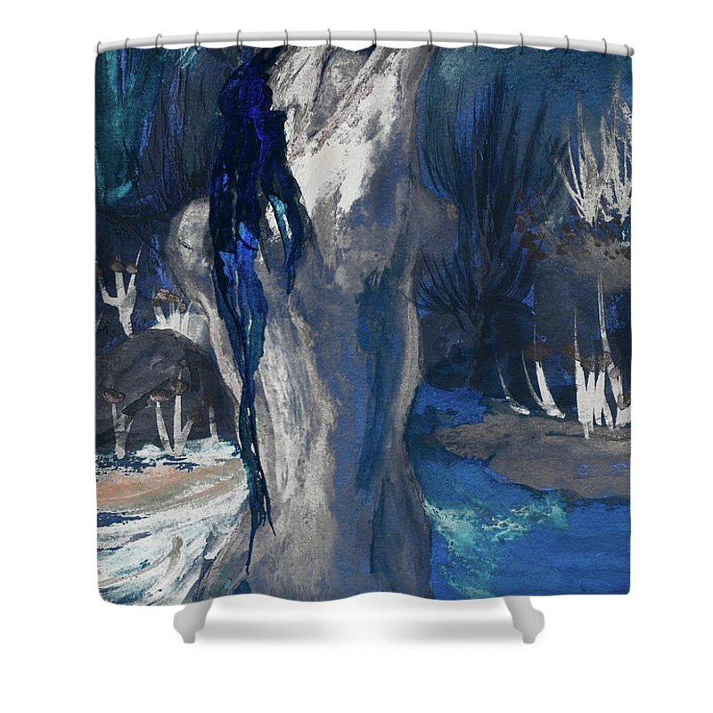 The Creekside Bath Of Alice In Royal Blue Shower Curtain featuring the mixed media The Creekside Bath Of Alice In Royal Blue by Sherry Alice Roberts