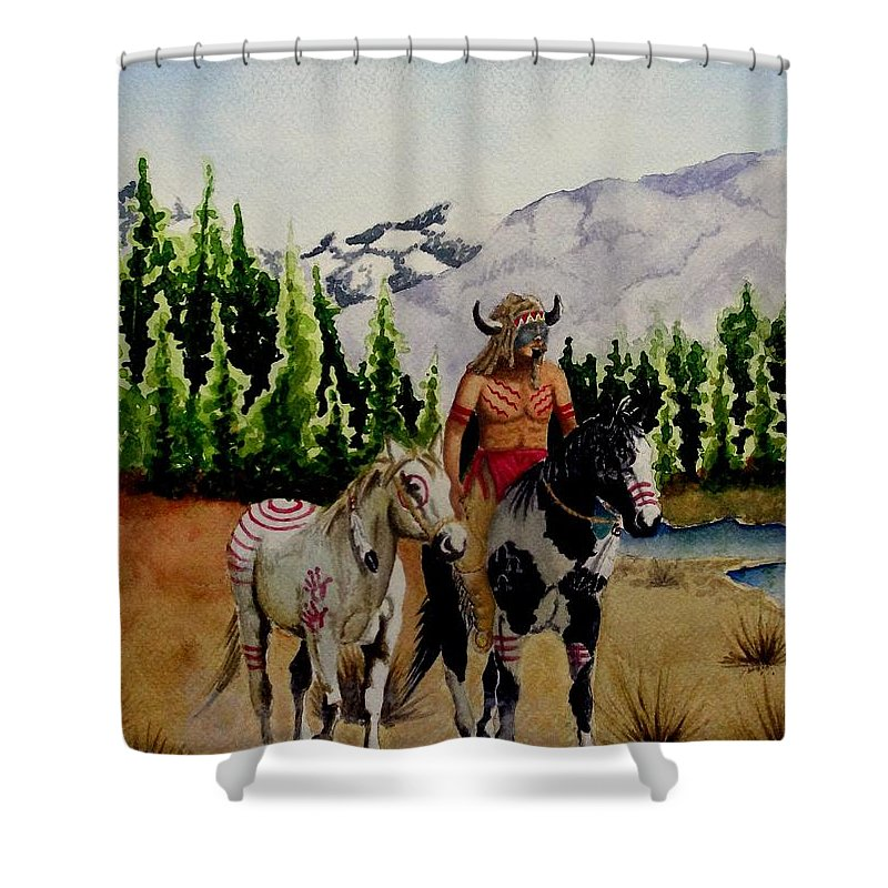 American Shower Curtain featuring the painting The Crossing by Jimmy Smith