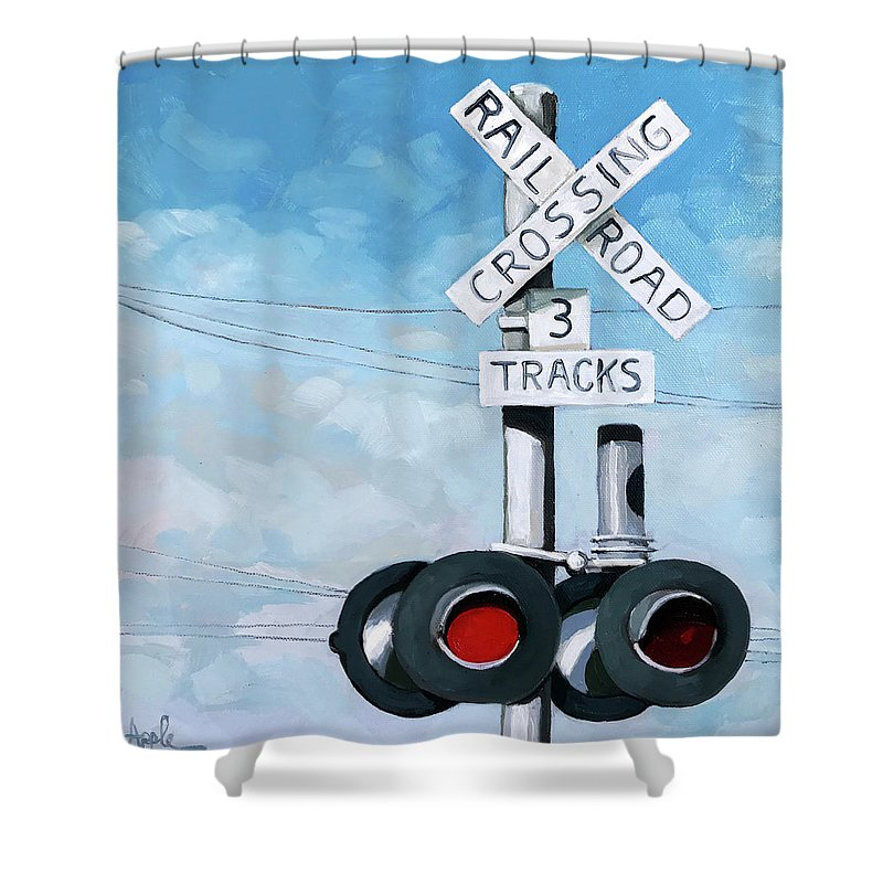 Train Art Shower Curtain featuring the painting The Crossing - Train Signals by Linda Apple