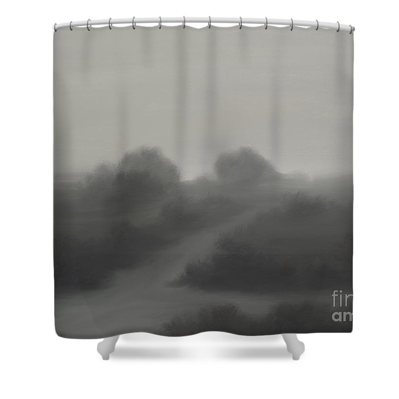 Landscape Shower Curtain featuring the painting The Crossroads by James Christopher Hill