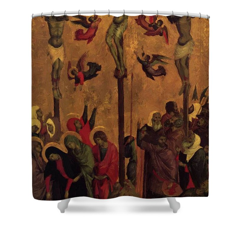 The Shower Curtain featuring the painting The Crucifixion by Duccio