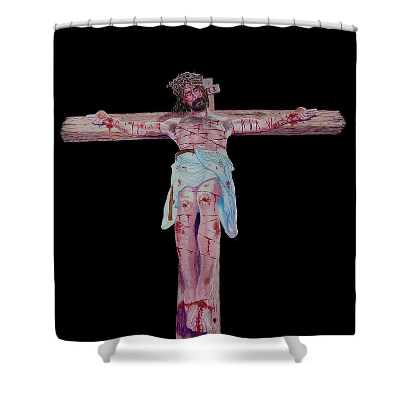Crucifixion Shower Curtain featuring the painting The Crucifixion by Stan Hamilton