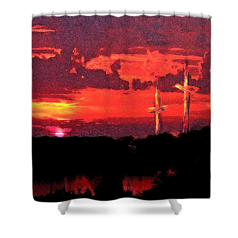 Abstract Shower Curtain featuring the painting The Crucifixtion by Rachel Christine Nowicki