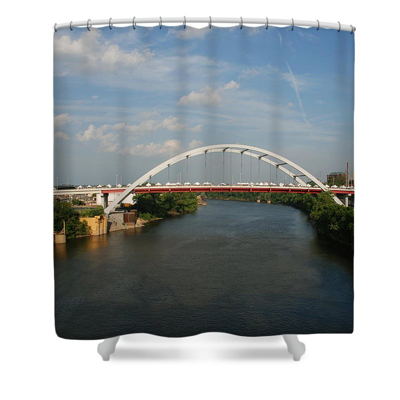 Nashville Photos Shower Curtain featuring the photograph The Cumberland River In Nashville by Susanne Van Hulst