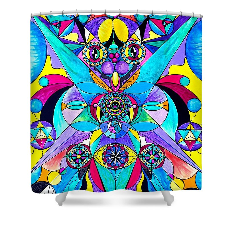 Vibration Shower Curtain featuring the painting The Cure by Teal Eye Print Store