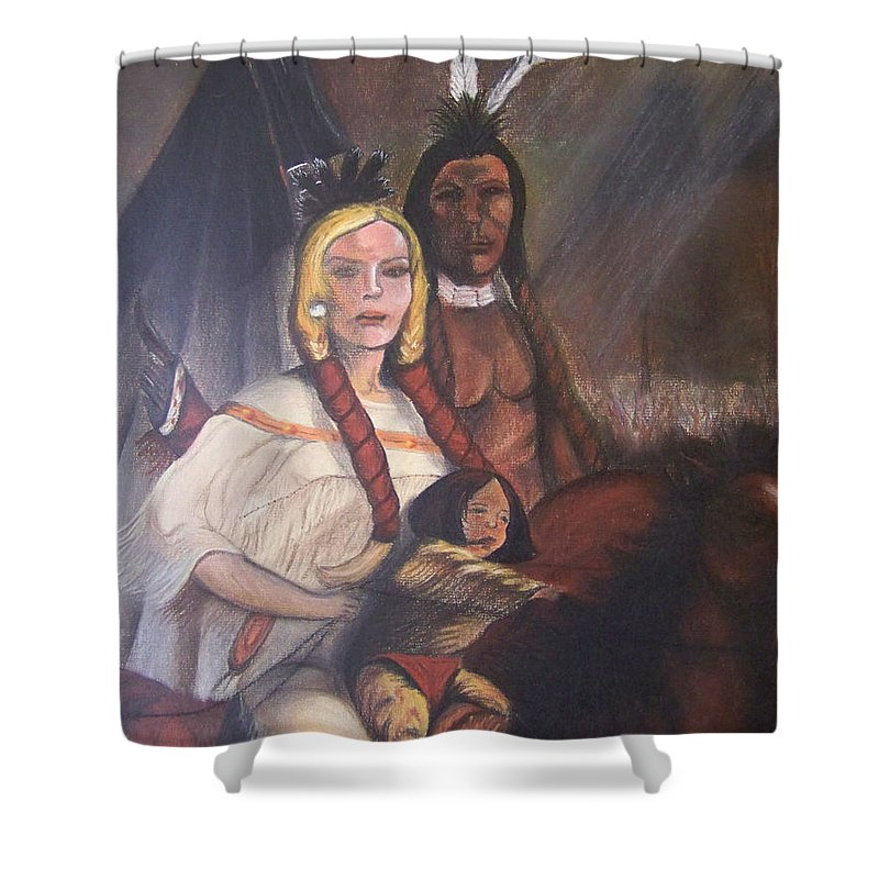 Artwork Shower Curtain featuring the painting The Cynthia Ann Parker Family by Laurie Kidd