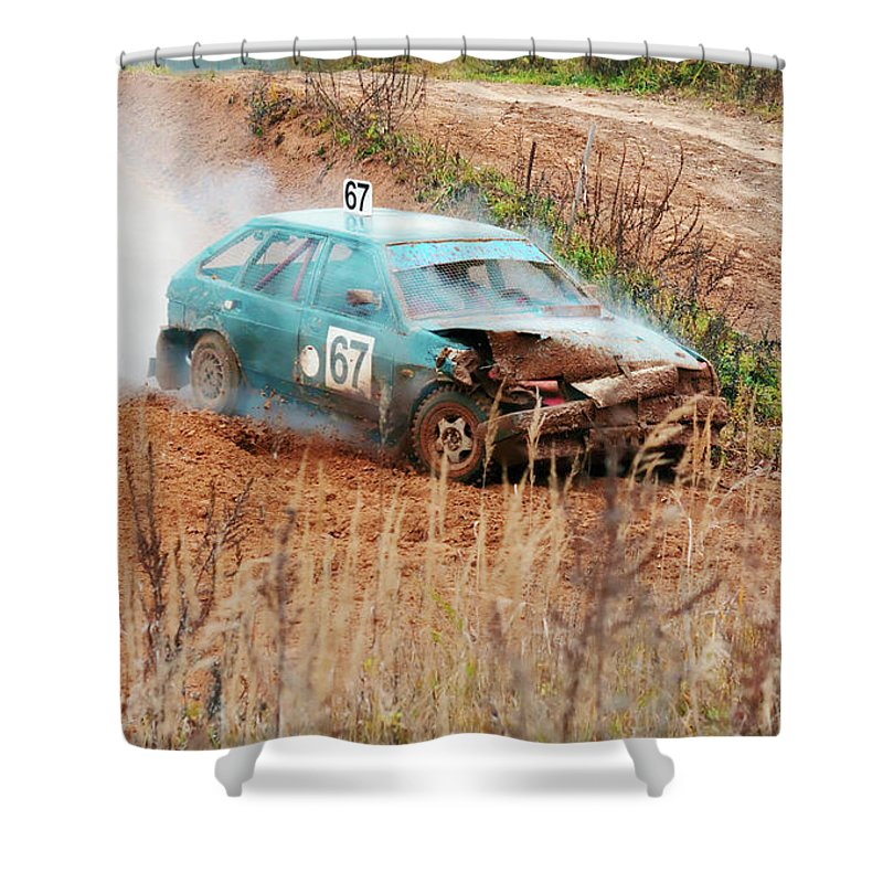 Amortisation Shower Curtain featuring the photograph The Damaged Car In A Smoke by Vadzim Kandratsenkau
