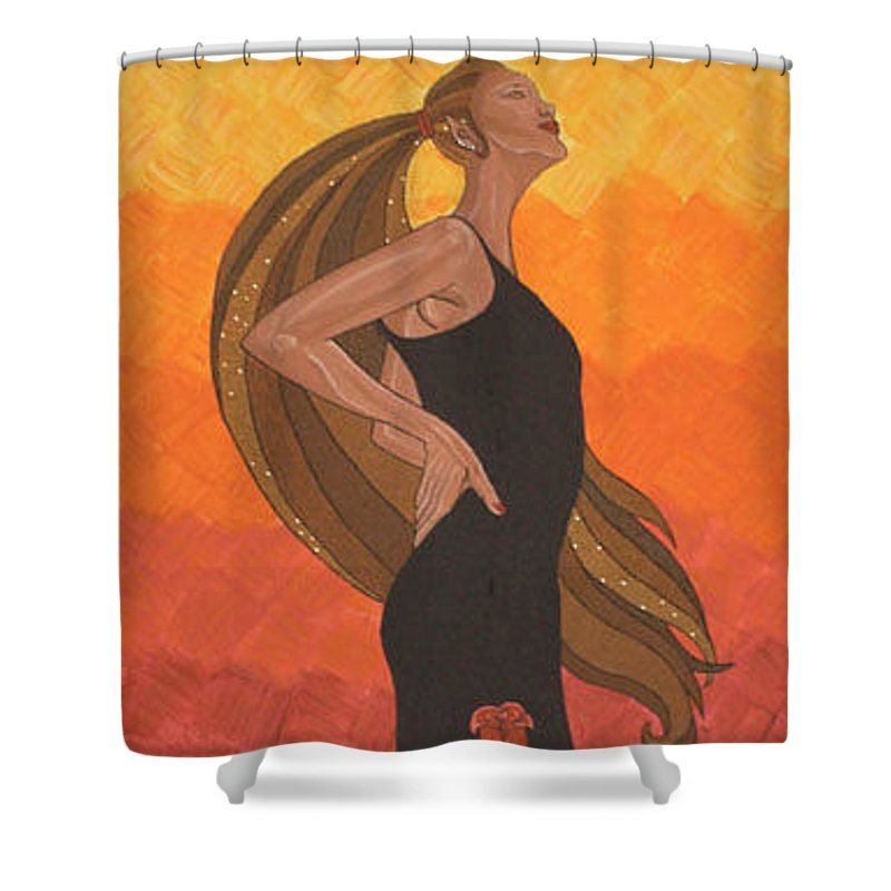 Dancer Shower Curtain featuring the painting The Dancer by Emmely Hillewaert