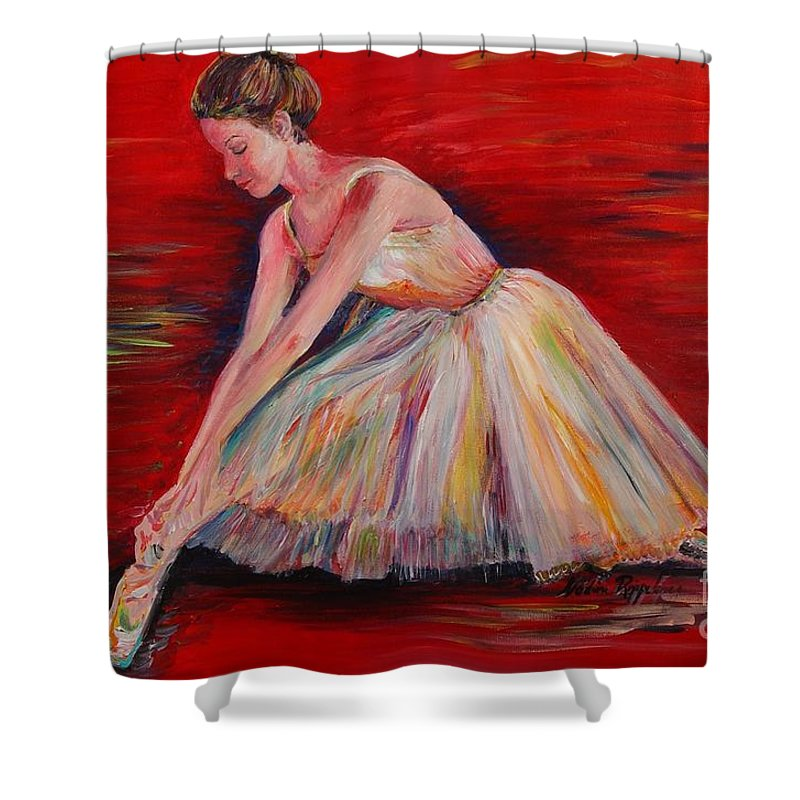 Dancer Shower Curtain featuring the painting The Dancer by Nadine Rippelmeyer