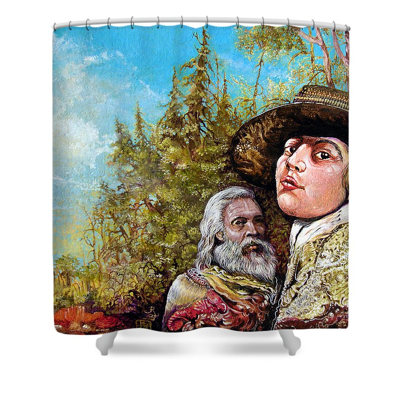 Surrealism Shower Curtain featuring the painting The Dauphin And Captain Nemo Discovering Bogomils Island by Otto Rapp