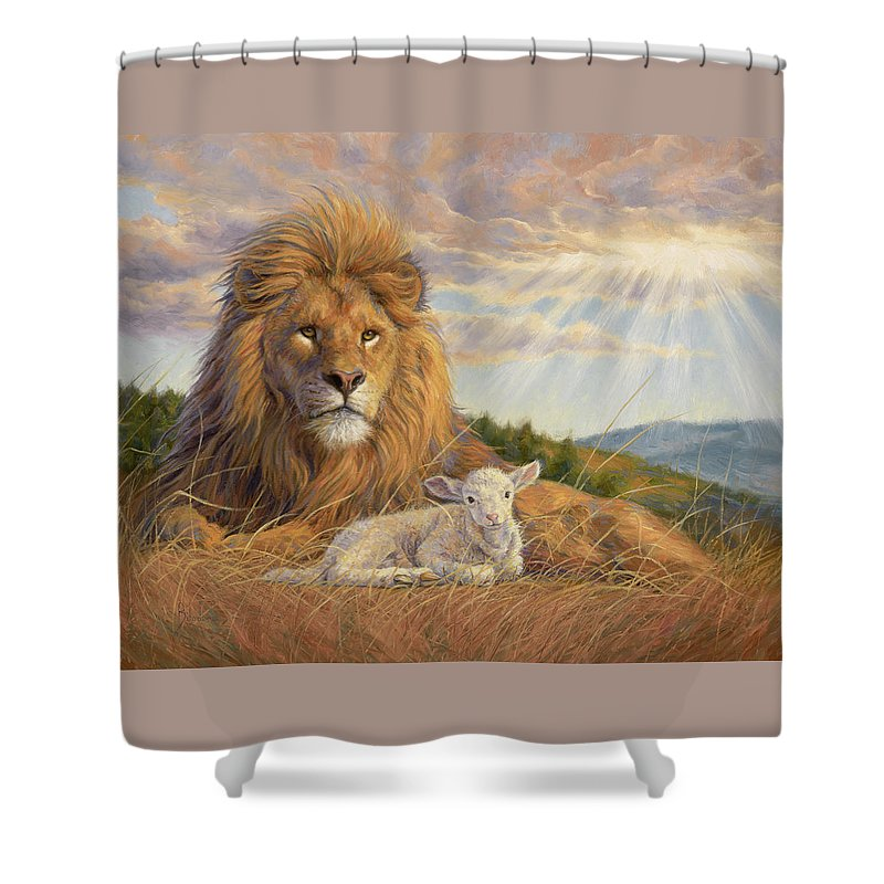 Lion Shower Curtain featuring the painting The Dawning Of A New Day by Lucie Bilodeau