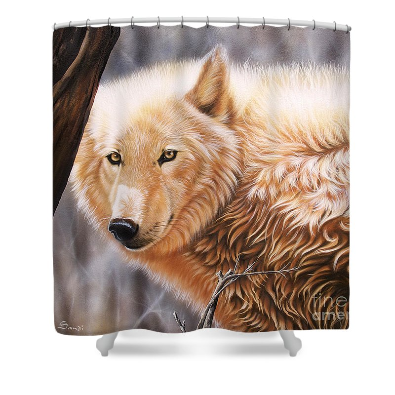 Acrylic Shower Curtain featuring the painting The Daystar II by Sandi Baker