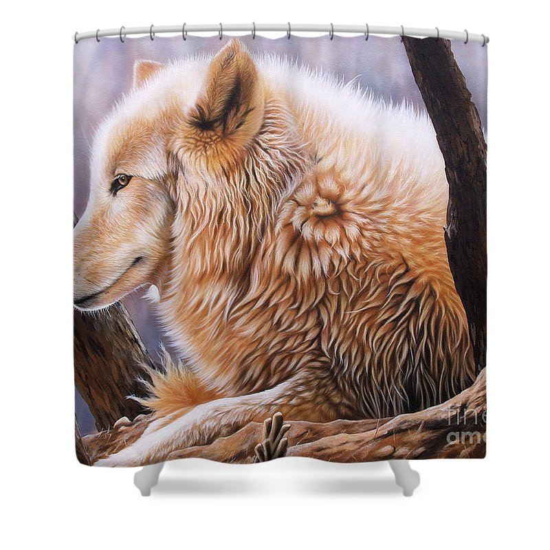 Acrylic Shower Curtain featuring the painting The Daystar by Sandi Baker