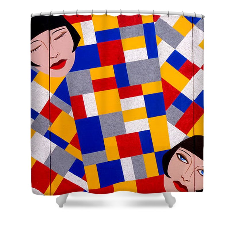 De Stijl Shower Curtain featuring the painting The De Stijl Dolls by Tara Hutton