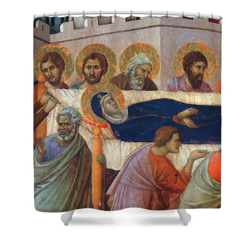 The Shower Curtain featuring the painting The Death Of Mary Fragment 1311 by Duccio