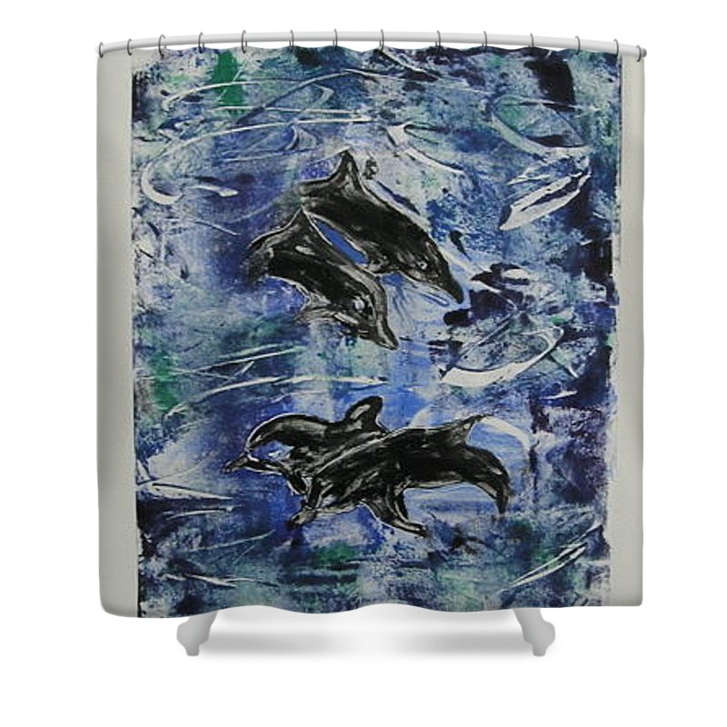 Monotype Shower Curtain featuring the mixed media The Deep Sea by Cori Solomon
