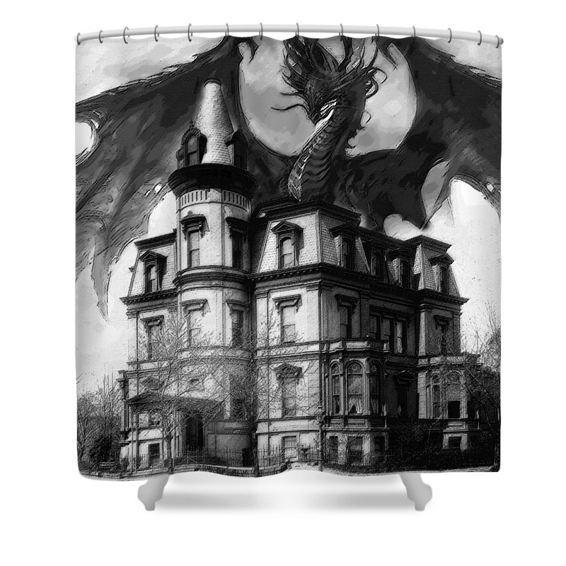 Demon Of Hell House Shower Curtain featuring the painting The Demon Of Hell House by Christopher Kerby